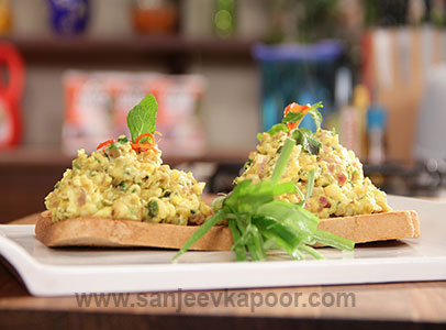 Cream Corn and Egg on Toast Turban Tadka FoodFood