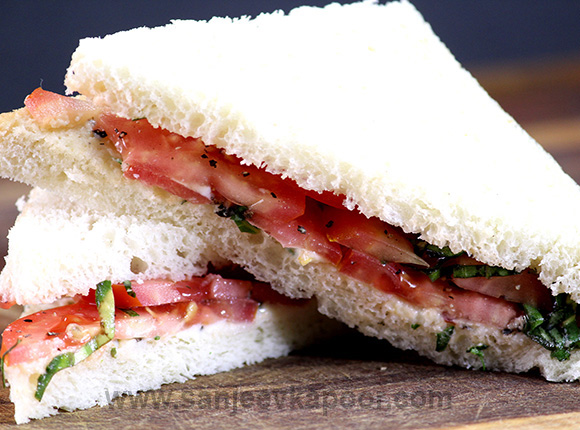 Tomato and Basil Sandwich with Mascarpone Spread