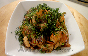Fried Prawns in Mushroom Ginger Sauce